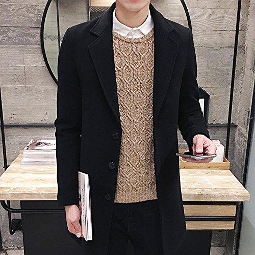 Laine Hiver Veste En Single Outwear Couleur Mode Longue Hommes Solid Automne Breasted Manteau Deelin Noir Slim Formelle qnER8SWwg