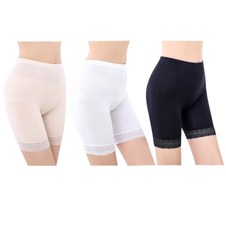 FEPITO 3 Pairs Frauen Unter Rock Shorts Sicherheitshosen Weiche Stretch Lace Trim Leggings Kurze Yogahosen Plus