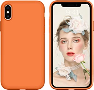iPhone X Case,iPhone Xs Case, DUEDUE Liquid Silicone Soft Gel Rubber Slim Cover with Microfiber Cloth Lining Cushion Shockproof Full Body Protective Case for iPhone X/iPhone Xs, Orange