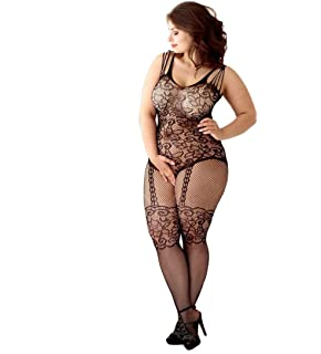 4ec94a43587 Curbigals Women s Floral Crotchless Bodystocking Plus Size Open Crotch  Fishnet Lingerie
