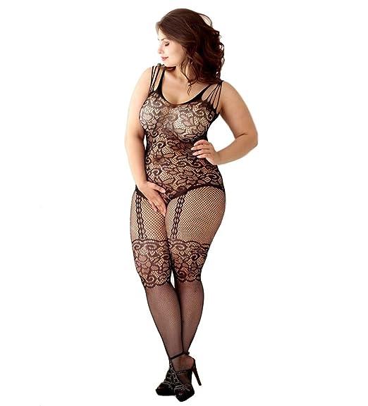 210da41f534 Amazon.com  Curbigals Women s Floral Crotchless Bodystocking Plus Size Open  Crotch Fishnet Lingerie (Black