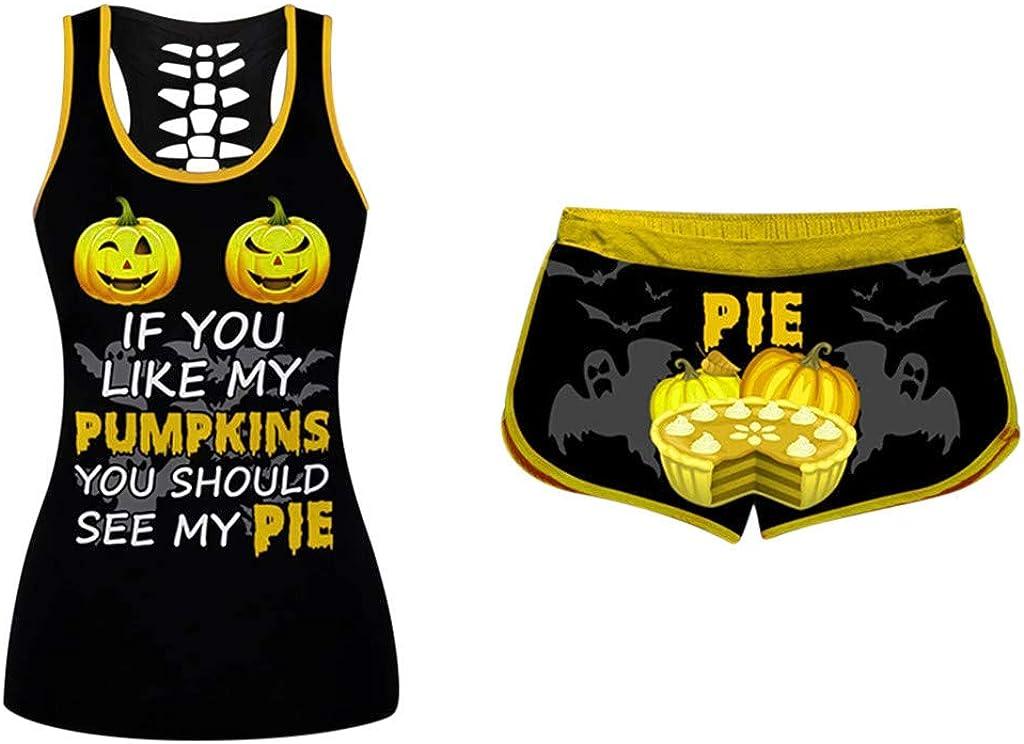Women 2 Piece Halloween Outfits U-Neck Funny Loose Shirt Skinny Short Pants Sportwear Tracksuits Jogger Set Activewear