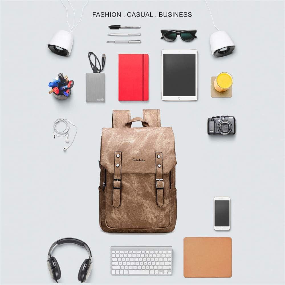 XWWS Zaino per Laptop, Borse da Scuola di Grande capacità, Borse da Viaggio Borse da Viaggio in Pelle PU Borsa da Viaggio per Uomo Donna Dark Grey XoXlX