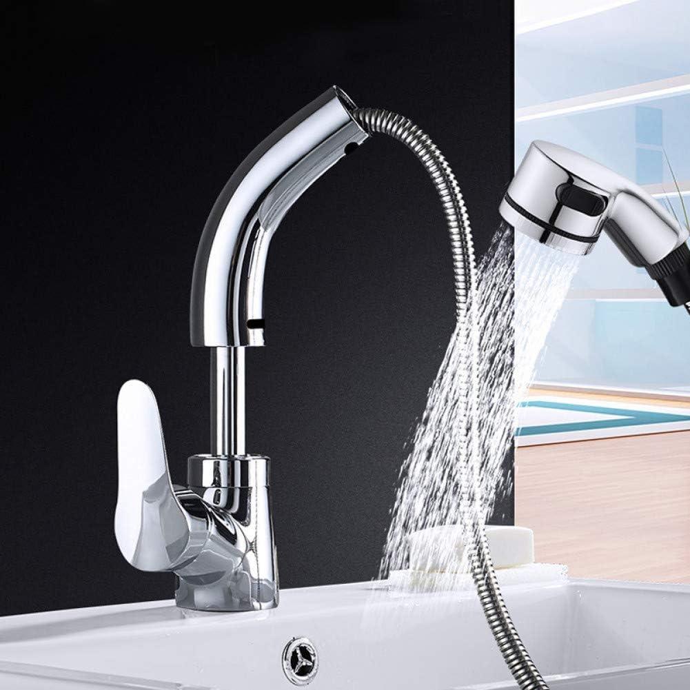 Grifo del lavabo del baño Palanca individual Extractor Pulverizador Caño giratorio Fregadero caliente y frío Mezclador de agua Grúa Levante hacia arriba y hacia abajo Grifo de agua
