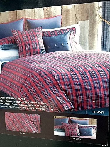 - Tommy Hilfiger Bear Mountain Plaid Twin Comforter Cover / Duvet Set
