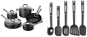 Simply Calphalon Nonstick 10 Piece Cookware Set (SA10H) AND Calphalon 5-Piece Nylon Kitchen Cooking Utensil Set