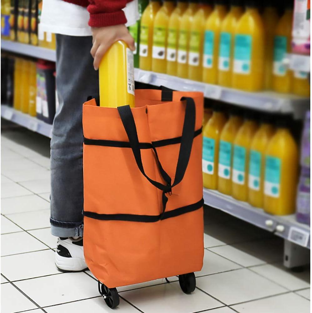JJYHEHOT Carro De Compras Con Ruedas,ligero Y Port/átil Disfruta Comprando naranja