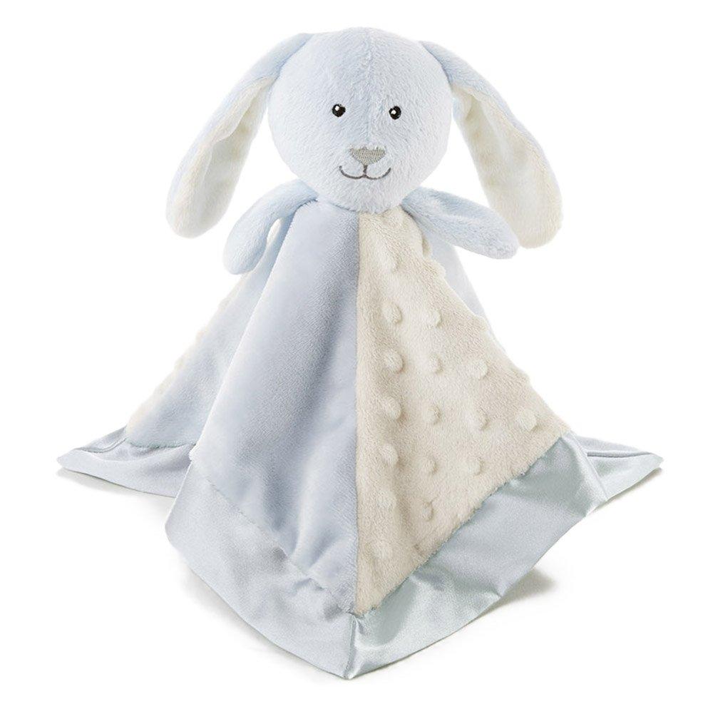 Snoozies Cozy Little Lovies Plush Satin Baby Blanket - Blue Bunny
