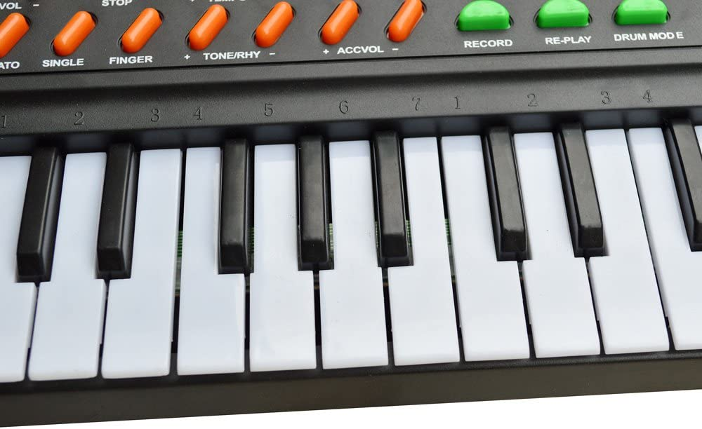 TMS 54 teclas de música teclado electrónico para niños, piano eléctrico, registro de organ, reproducción con micrófono, color negro