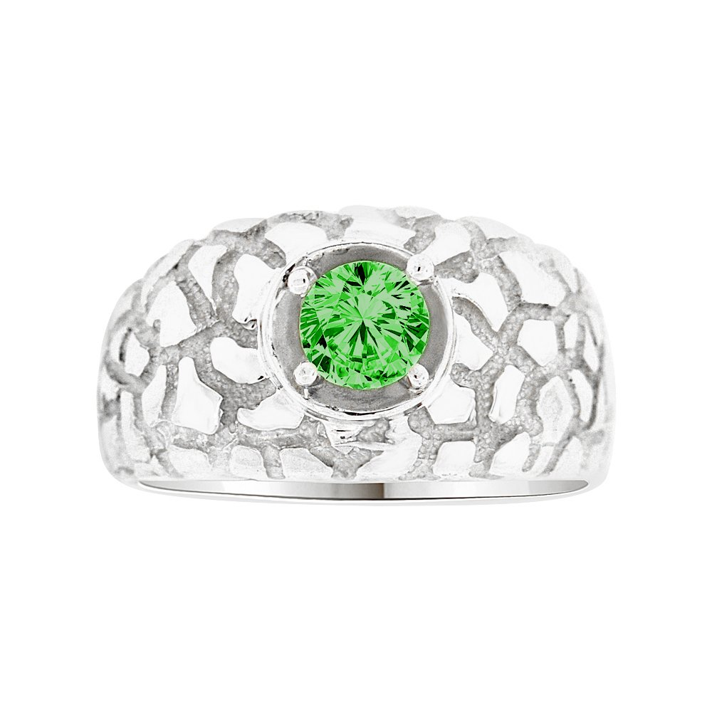 Nugget Ring Men Guy Gent Synthetic May Birthstone Green CZ White Rhodium Plated Metal