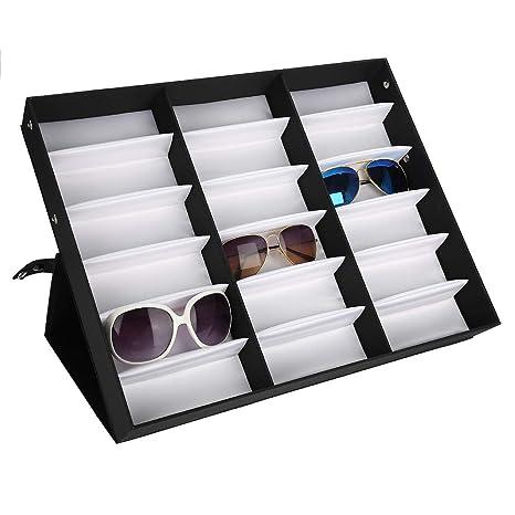 Greeflu Caja de Almacenamiento de Gafas, 18 Ranuras Gafas de ...