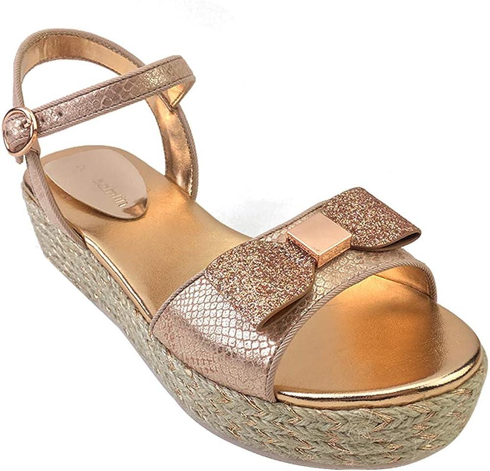 POMLIN Girl Sandals with Bow-Knot,Fashion Flexible Kids Summer Shoes Glitter Gladiator for Children,UK Size