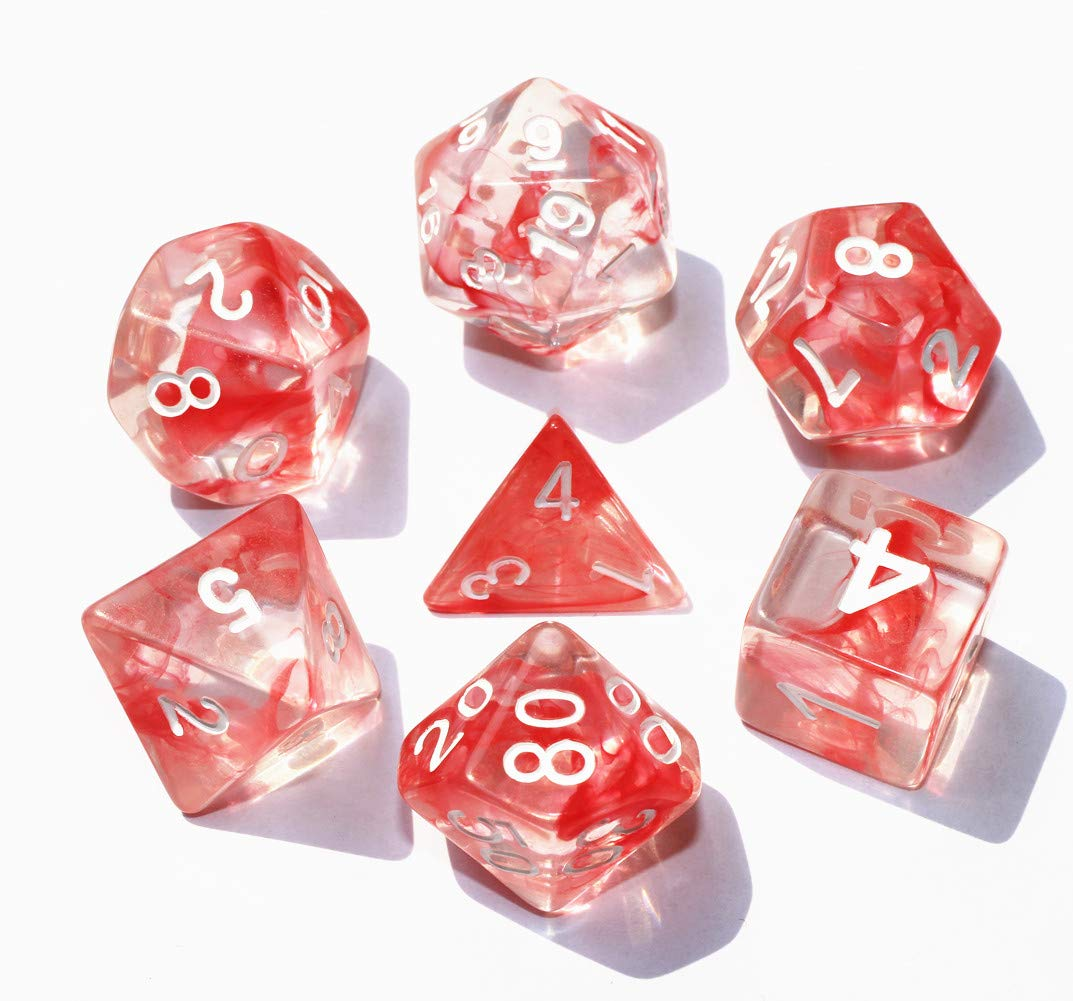 HD Dais Polyhedral DND Dice Set Red Transparent RPG Dice for Dungeons and Dragons D/&D Pathfinder MTG Role Playing Games Dice 7-Die Set with Dice Bag