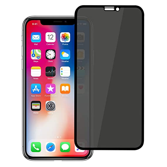 official photos 582a9 95e09 YCFlying iPhone Xs Privacy Tempered Glass Anti-Spy Screen Protector [3D  Curved] [Case Friendly] [9H Hardness] for Apple iPhone X/XS (5.8in) Black