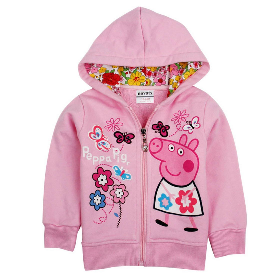 Peppa Pig Little Girls Long Sleeve Cartoon Hooded Cotton Jacket 1-6Y Tiful