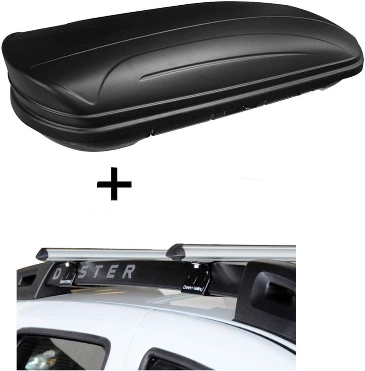 Dachbox Vdpmaa320 320ltr Abschließbar Schwarz Matt Alu Relingträger Aurilis Original Kompatibel Mit Dacia Duster Mit Reling 5 Türer 2014 2017 Auto