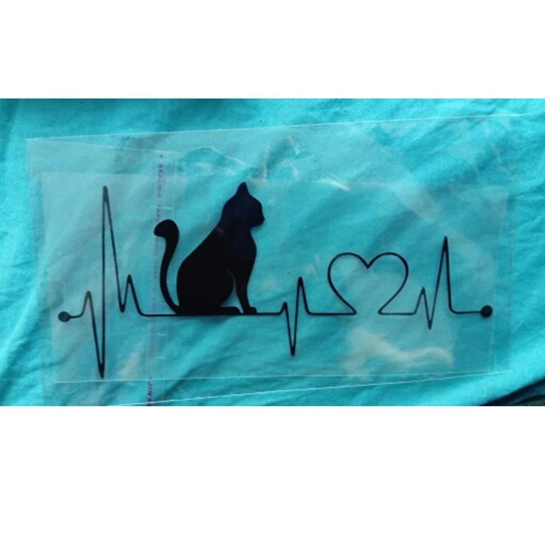 LouiseEvel215 Design alla moda Pet Cat battito cardiaco Lifeline Pet Decal Adesivi per il corpo auto unici Accessori per car styling per auto