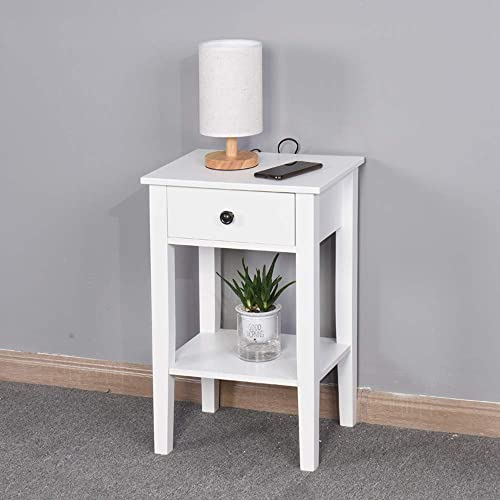 DEPOINTER Life Storage Table Nightstand with 1 Drawers and Open Shelf, Accent End Side Table Bedside Cabinet, Modern Design Perfect for Home Furniture, Bedroom Accessories, White