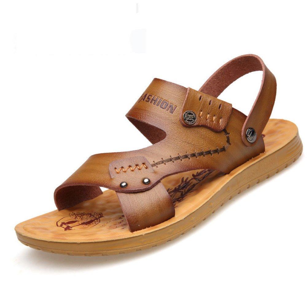 DSFGHE Sommer Weiches Leder Herrenschuhe Sandalen Herren Atmungsaktiv Hausschuhe Strand Herrenschuhe Leder Khaki 4370cc
