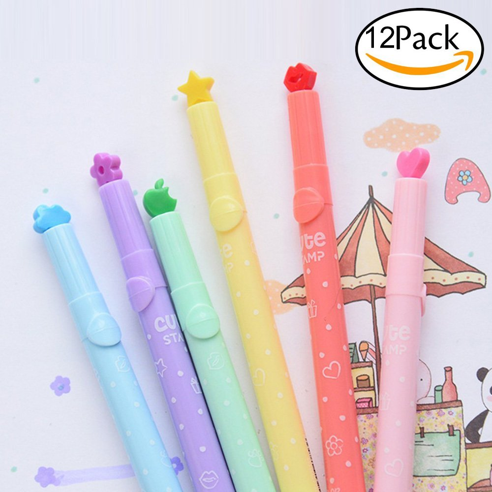 TYHY Pack of 12 Pcs Cute Cool Novelty Candy Color Seal Solid Jelly Highlighter Pen Office School Supplies Students Children Gift