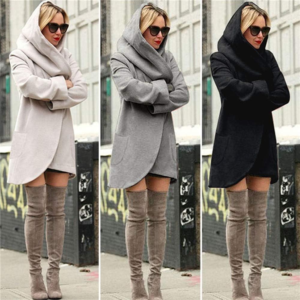 HARRYSTORE Womens Ladies Open Front Long Sleeve Hooded Cardigans Coat Casual Tops Jacket Outwear Dark Gray