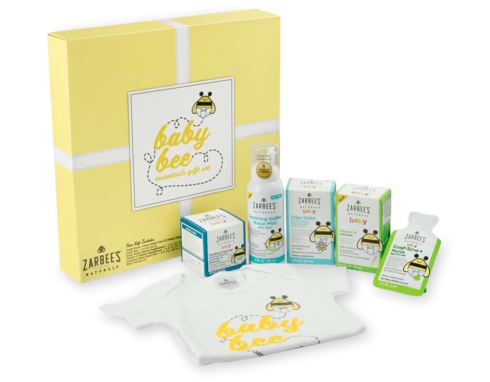 Zarbee's Naturals Baby Bee Essentials Gift Set with Saline Nasal Mist Chest Rub Vitamin D Gripe Water Cough Syrup + Mucus & Zarbee's Romper, Excellent Baby Shower/Registry Gift