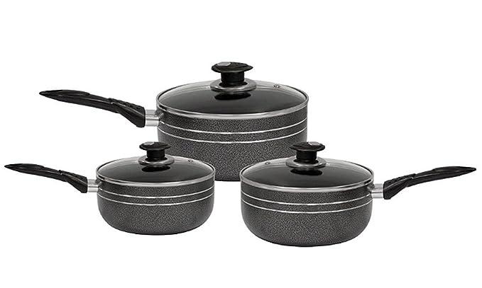 Exxcel Creation - Juego de cacerolas antiadherentes (3 piezas, base de inducción de 16 a 20 cm): Amazon.es: Hogar