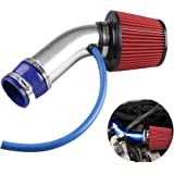 Ruien 76mm口径 アルミ製エアインテークパイプ エアクリーナー付属 吸気効率UP コンパクト 自動車用 汎用 ブローオフバルブ 25mm ターボ用