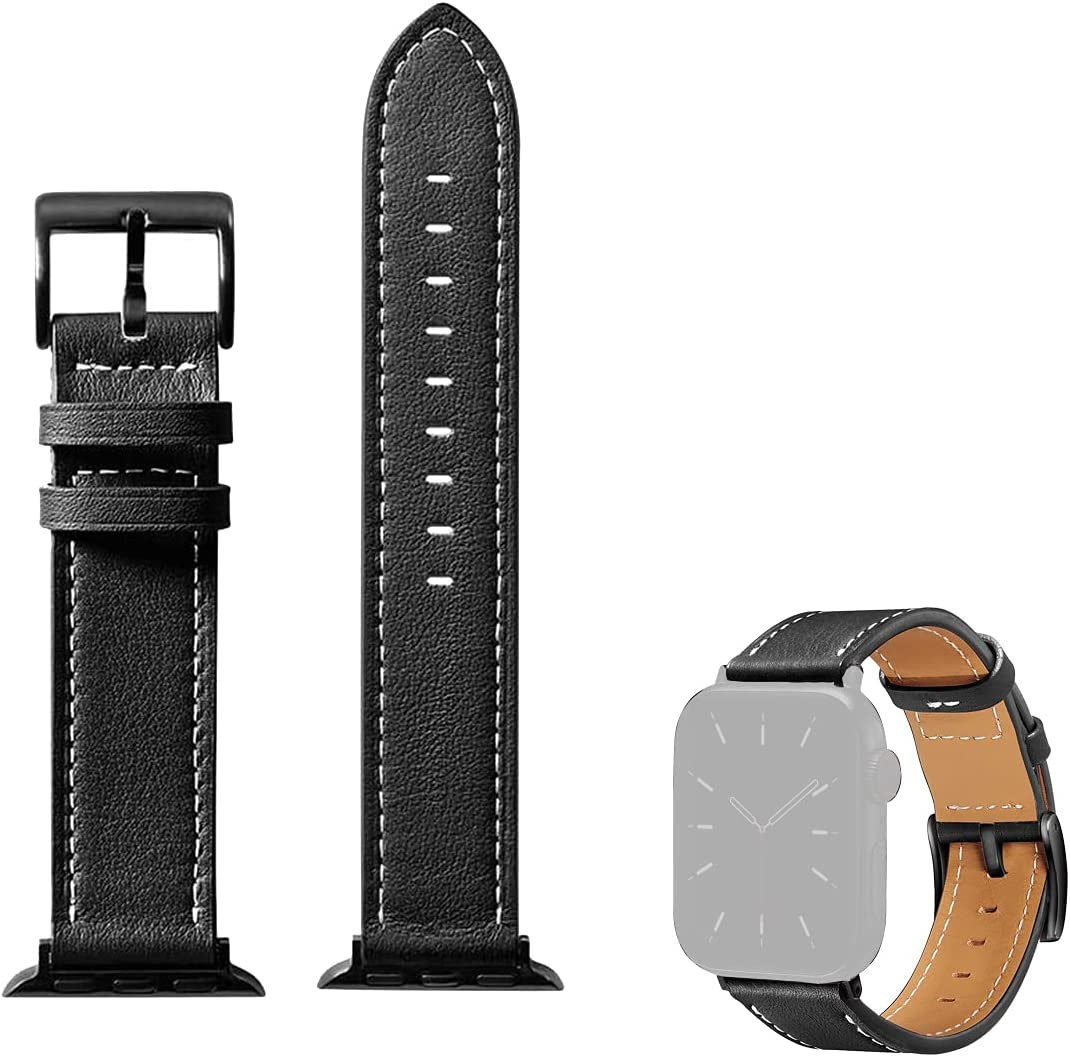 GONWEN Genuine Leather Watch Straps Compatible with Apple Watch Band (38mm-40mm), Wristbands Replacement for iWatch Series 6 5 4 3 2 1 SE Series