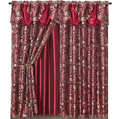 (GOHD ROYAL ROSARIUM. Clipped voile/voile jacquard window curtain panel drape with attached fancy valance & taffeta backing. 2pcs set. Each pc 55