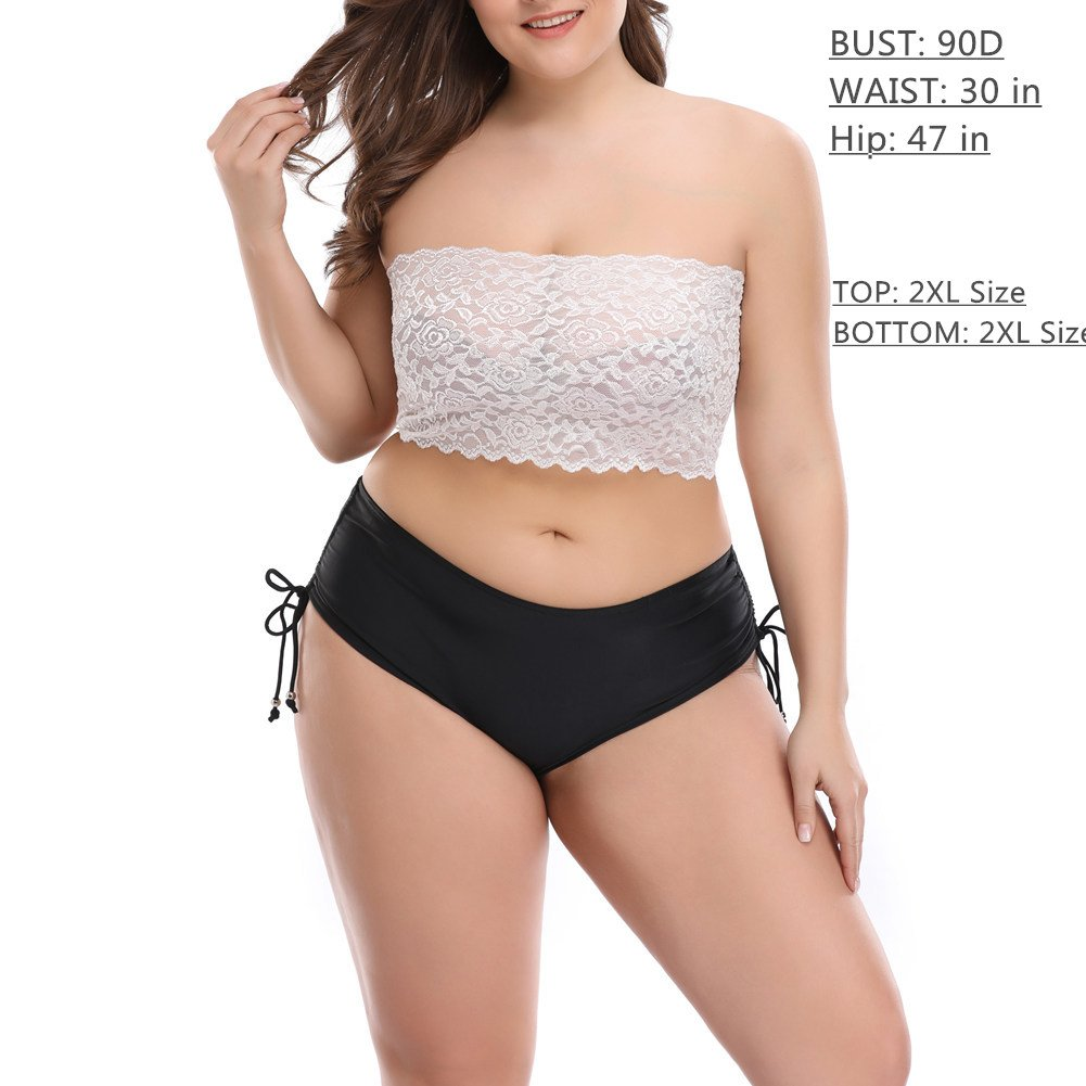 18a525b93a9 CENG MAU Women s Plus Size Floral Lace Unlined Stretchy Strapless Bandeau  Tube Tops See Through Bras(Be