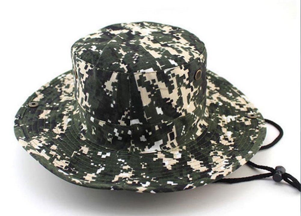 YOYEAH Fishing Hunting Boating Cap Hat Sun Hat Bucket Hats with Adjustable Drawstring Green Beige by YOYEAH