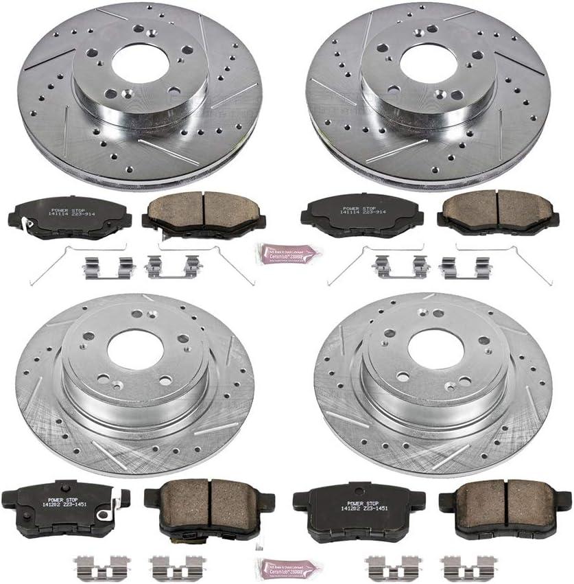 REARS Power Sport Cross Drilled Slotted Brake Rotors and Ceramic Brake Pads Kit 81022