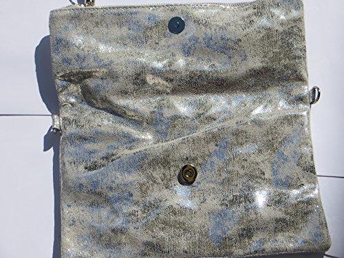 Clutch kleine Tasche Vintage Silber-Grau Bommel Echtleder Elegant