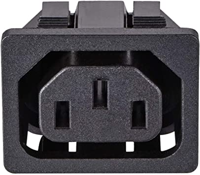 uxcell C14 Panel Mount Plug Adapter 10A 3 Pins Inlet Power Connector Staight 1pcs