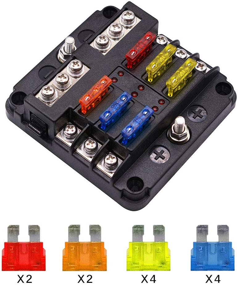6 Way Fuse Block Blade Fuse Box Holder, 6 Circuit Car Ato/Atc Fuse Block Waterproof with 20Pcs Fuse & LED Indicator & Protection Cover for 12V/24V Automotive Truck Boat Marine Bus RV Van Vehicle