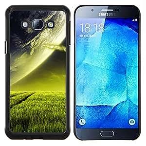 Caucho caso de Shell duro de la cubierta de accesorios de protección BY RAYDREAMMM - Samsung Galaxy A8 A8000 - Extranjero de espacio Planet Green Grass Arte Cosmos
