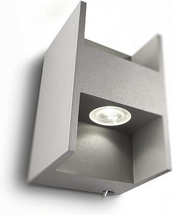 Philips Ledino 336028716 Wandleuchte 220 240V 50 60Hz grau Aluminium 2 x 2,5 W 3100K warm weiss Ein Ausschalter