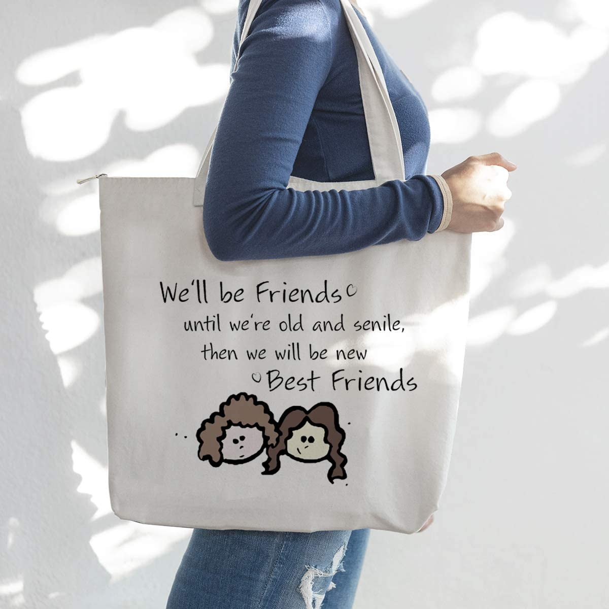 We'll be Friends Until We are Old and Senile - Best Friend BFF Gifts for Women - Funny Long Distance Birthday, Gift for Unbiological Soul Sister, Besties -Tote Bag for Women,Canvas Tote Bag