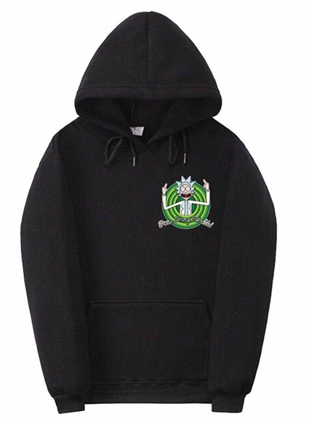 EASYHON Hoodies Unisex Rick and Morty Supreme Hoodie Printed 3D Sweatshirt Sportswear Tracksuit (Black,XX-Large)