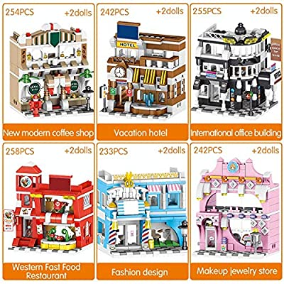CELECA - City House Time Restaurant Bricks Earl Clock Tower Street View Makeup Friends Building Blocks Toys for Girls Boys: Home Improvement