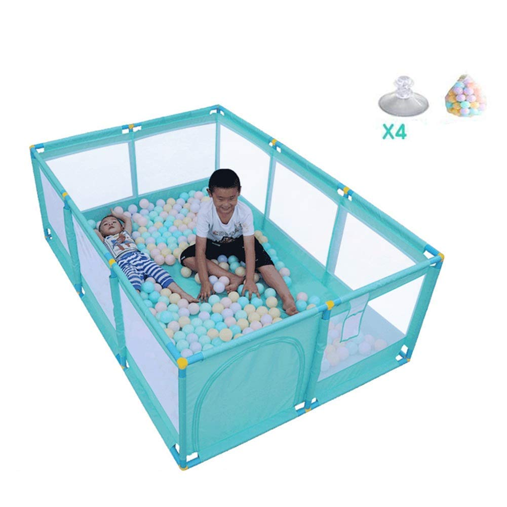 Q.AWB子供ベビーサークルベビーベビーサークル幼児スタンドアップ通気性安定保護視認性プラスチックボール - 66センチメートル高 - 3色(カラー:グリーン、サイズ:128X190X66CM) 128X190X66CM Green B07V45JFZN