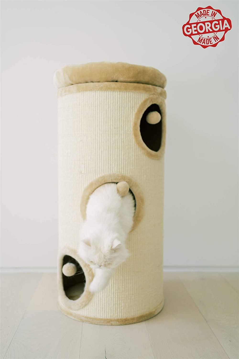 Made in Georgia Natural Sisal-Covered Scratch Barrel with Top High Edge Snuggle Bed PAWMONA 37 3 Story Cat Tree Condo Barrel Tower Machine Washable Great Gift for Cat Lovers