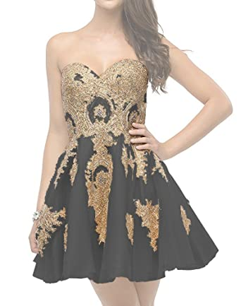 Zechun Womens Gold Lace Embroidery Short Strapless Prom Dress Evening Gown Little Black US2