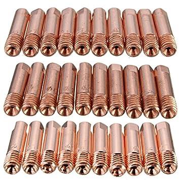 MASUNN 10 Piezas Mb-15Ak M6 Mig/Mag Antorcha De Soldadura Punta De Contacto Boquilla De Gas 0,8/1.0/1,2 mm-1,0 mm: Amazon.es: Hogar