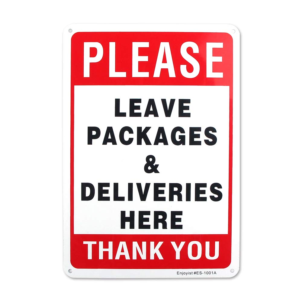 """Enjoyist Please Leave Deliveries and Packages Here Sign 12""""x 8"""" .04"""" Aluminum Sign Rust Free Aluminum-UV Protected and Weatherproof"""