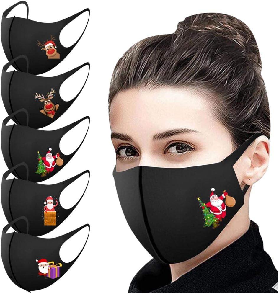 5 Piezas m_ascarillas Negro Reutilizables antivaho Lavables Antipolvo Navidad Seda de Hielo Protección para Adultos