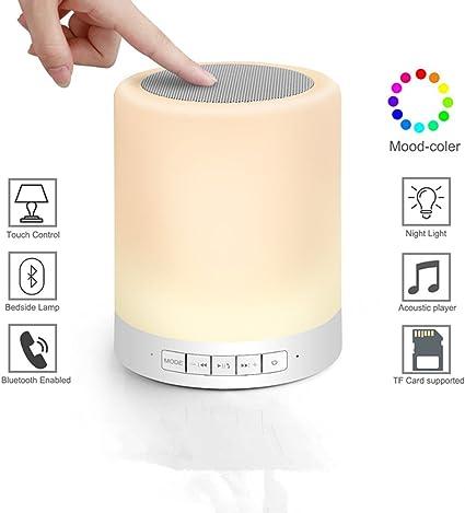 L Hm Led Lampe De Chevet Avec Bluetooth Enceinte Haute Parleur Sans Fil Rechargeable Lampe D Ambiance Avec Capteur Tactile Couleur Rgb Variable Et