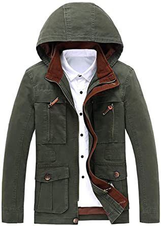 Amazon.com: gongli3352 Mens Hooded Casual Jacket Youth Clip ...