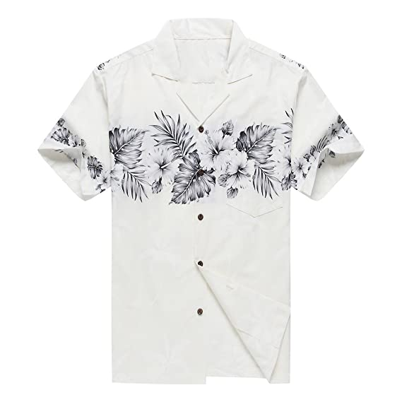 ed4f7955 Made in Hawaii Men's Aloha Shirt Palm with Cross Hibiscus in White and  Grey: Amazon.co.uk: Clothing